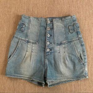 Topshop Moto High Waist Denim Shorts 28 Mom 90s